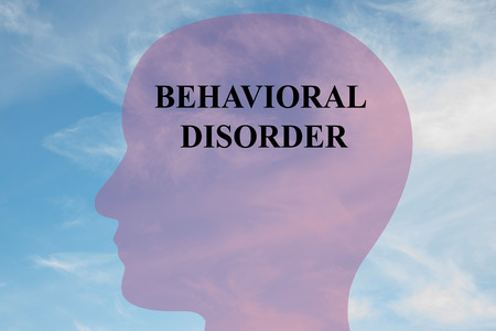 behavioral: Render illustration of Behavioral  Disorder title on head silhouette, with cloudy sky as a background. Stock Photo