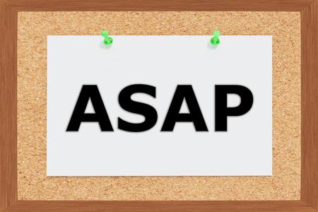 haste: Render illustration of ASAP title on cork board