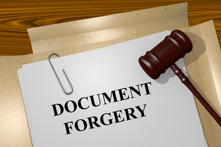 Render illustration of Document Forgery title on Legal Documents