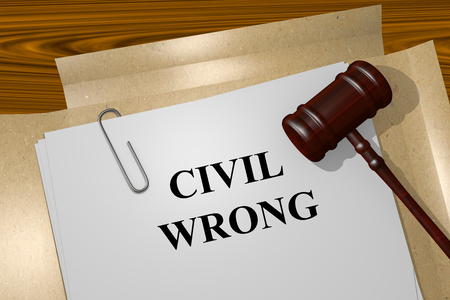 alarmed: Render illustration of Civil Wrong Title On Legal Documents Stock Photo