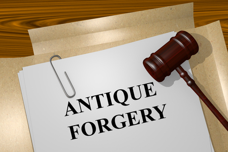 forgery: Render illustration of Antique Forgery title on Legal Documents