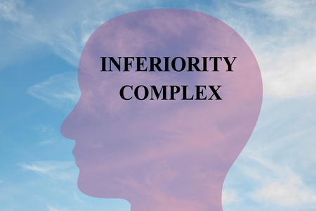 bashfulness: Render illustration of Inferiority Complex title on head silhouette, with cloudy sky as a background.