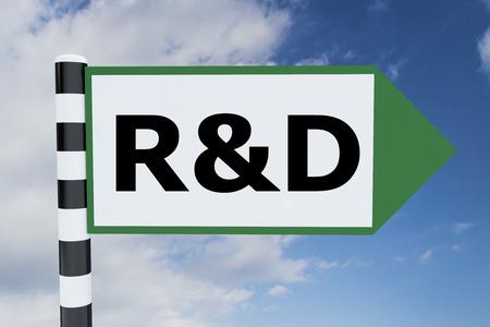 rd: Render illustration of R&D title on road sign