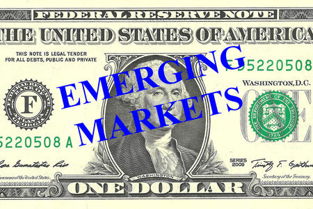 emerging markets: Render illustration of Emerging Markets title on One Dollar bill as a background