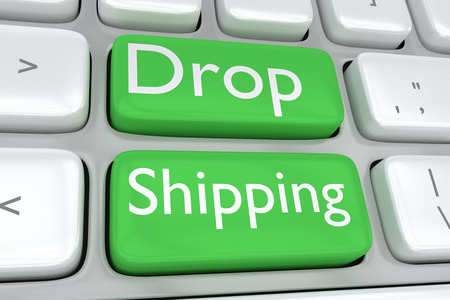 adjacent: Render illustration of computer keyboard with the print Drop Shipping on two adjacent green buttons Stock Photo