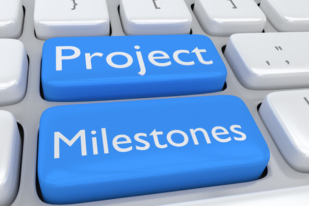 Render illustration of computer keyboard with the print Project Milestones on two adjacent pale blue buttons