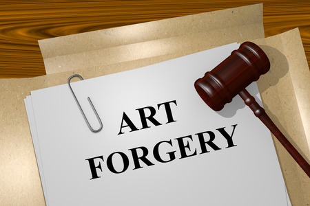 forgery: Render illustration of Art Forgery title on Legal Documents Stock Photo