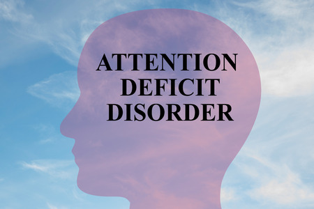 Render illustration of Attention Deficit Disorder title on head silhouette, with cloudy sky as a background. Stock Photo