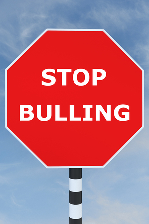prevent: Render illustration of Stop Bullying title on road sign