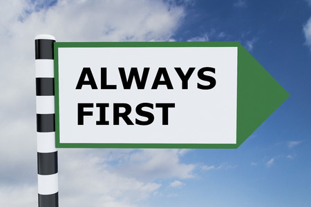 always: Render illustration of Always First title on road sign
