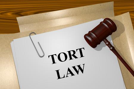 tort: Render illustration of Tort Law title On Legal Documents