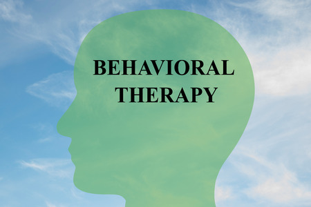 behavioral: Render illustration of Behavioral Therapy title on head silhouette, with cloudy sky as a background