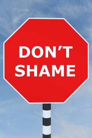 shaming: Render illustration of Dont Shame title on road sign