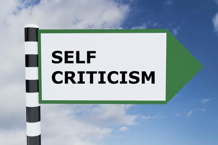 low self esteem: Render illustration of Self Criticism title on road sign
