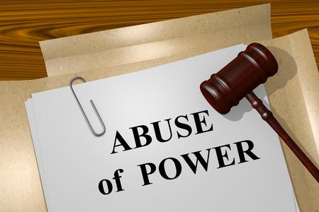 法律文書でパワーの乱用タイトルのイラストを表示します。 写真素材