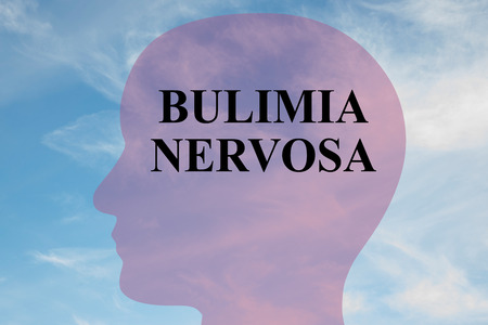bulimia: Render illustration of Bulimia Nervosa title on head silhouette, with cloudy sky as a background. Stock Photo