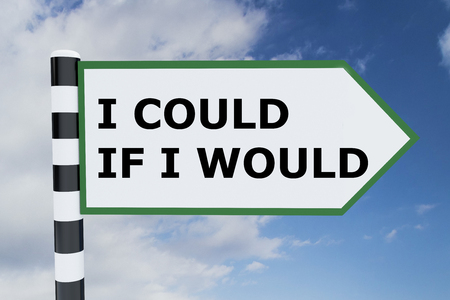 could: Render illustration of I Could If I Would title on road sign Stock Photo