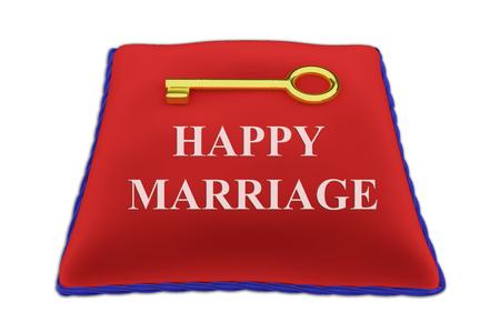 matrimonio feliz: Hacer la ilustración de feliz matrimonio título en rojo Vear almohada de terciopelo una llave de oro, aislado en blanco.