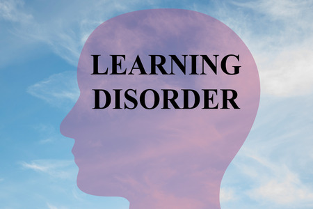 illiteracy: Render illustration of learing disorder title on head silhouette, with cloudy sky as a background.
