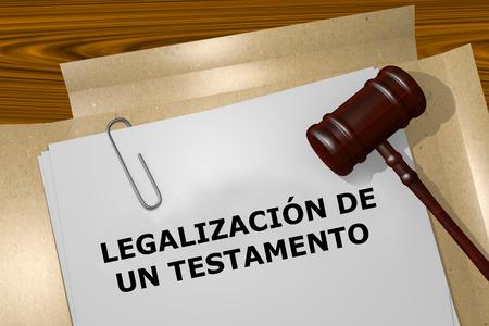 expressed: Render illustration of the word Probate expressed in Spanish on Legal Documents Stock Photo