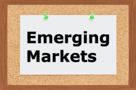 emerging markets: Render illustration of Emerging Markets title on cork board