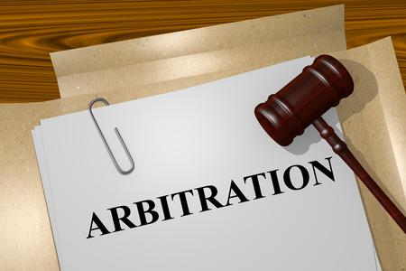 Render illustration titre ofArbitration sur les documents juridiques Banque d'images - 50160049