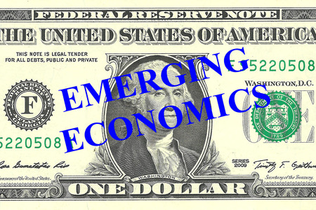 emerging markets: Render illustration of Emerging Economics title on One Dollar bill as a background Stock Photo
