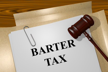 barter: Render illustration of Barter Tax title on Legal Documents