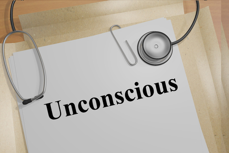 fainted: Render illustration of Unconscious title on Medical Documents Stock Photo
