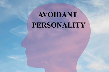 obsessive compulsive: Render illustration of Avoidant Personality title on head silhouette, with cloudy sky as a background.