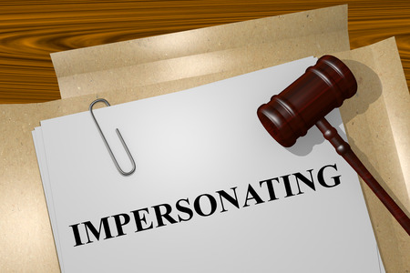 impersonal: Render illustration of Impersonating title on Legal Documents Stock Photo