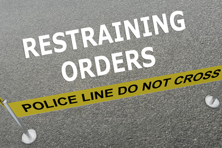 restraining: Render illustration of Restraining Orders title on the ground in a police arena Stock Photo