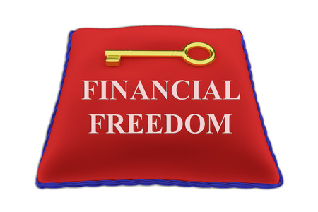 key to freedom: Render illustration of Financial Freedom Title on red velvet pillow near a golden key, isolated on white.