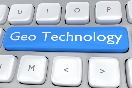 vpn: Render illustration of computer keyboard with the print Geo Technology on a pale blue button Stock Photo