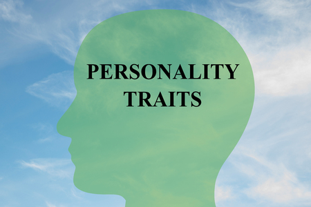 traits: Render illustration of Personality Traits title on head silhouette, with cloudy sky as a background