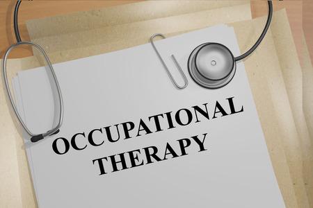 Geef illustratie van Ergotherapie titel van medische bewijsstukken Stockfoto