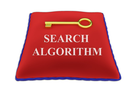 backlinks: Render illustration of Search Algorithm Title on red velvet pillow near a golden key, isolated on white. Stock Photo