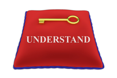 understand: Render illustration of Understand Title on red velvet pillow near a golden key, isolated on white. Stock Photo