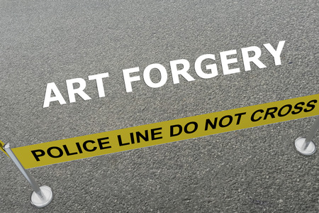 forgery: Render illustration of Art Forgery title on the ground in a police arena Stock Photo