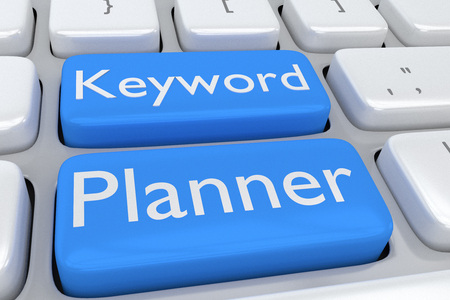 Render illustration of computer keyboard with the print Keyword Planner on two adjacent pale blue buttons