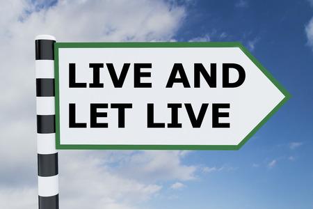 let: Render illustration of Live and Let Live title on road sign Stock Photo