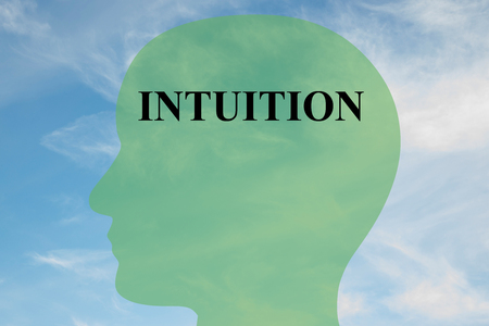 intuition: Render illustration of Intuition title on head silhouette, with cloudy sky as a background Stock Photo