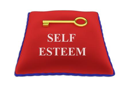 fulfilled: Render illustration of Self Esteem Title on red velvet pillow near a golden key, isolated on white. Stock Photo