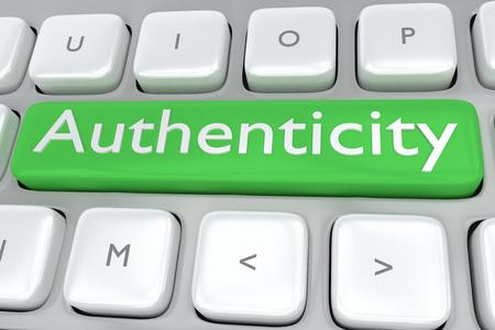 Rendu illustration du clavier de l'ordinateur avec l'authenticité d'impression sur un bouton vert Banque d'images