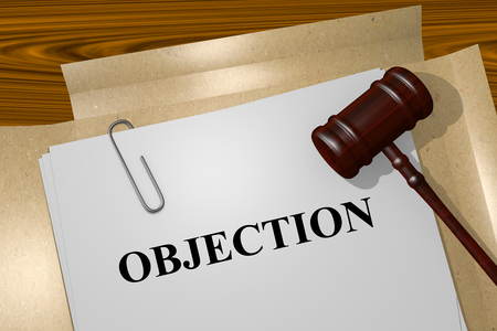 objection: Render illustration of Objection title On Legal Documents