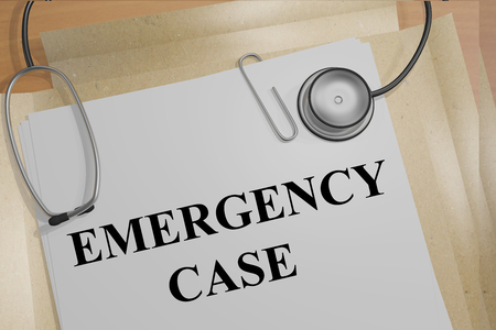 emergency case: Render illustration of Emergency Case title on medical documents