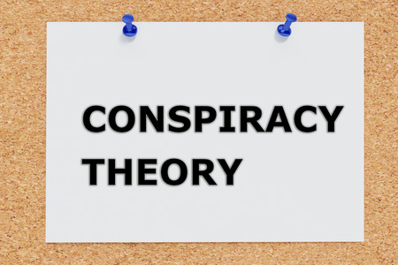 ufo conspiracy theory: Render illustration of Conspiracy Theory script on cork board Stock Photo