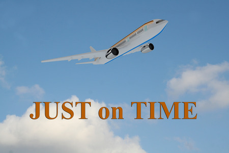 eliminating: Render illustration of Just on Time title on cloudy sky as a background, under an airplane which is taking off.