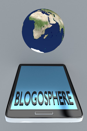 blogosphere: Render illustration of Blogosphere title on cellular screen, with the earth above the cellular.