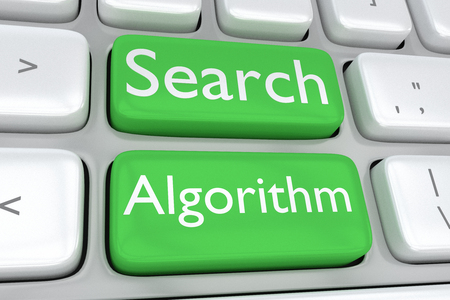Render illustration of computer keyboard with the print Search Algorithm on two adjacent green buttons Reklamní fotografie